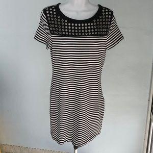 Michael Kors striped mini dress with metal grommet
